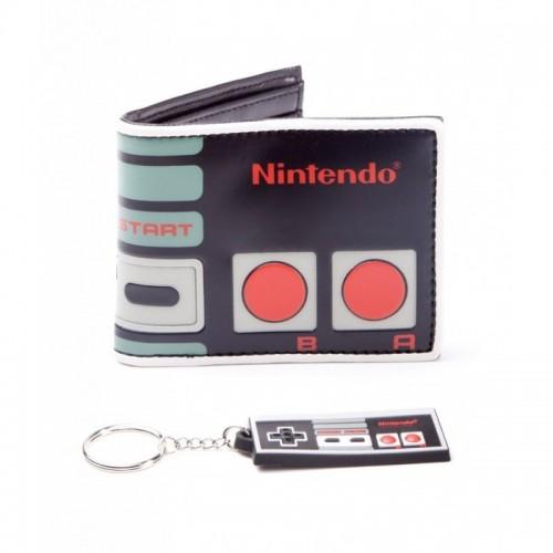 Portafoglio Nintendo controller con portachiavi