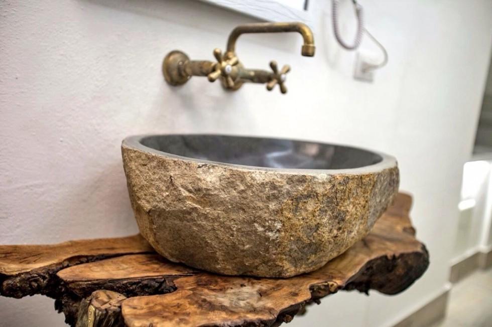 Lavandino in pietra naturale di fume lavabo bagno