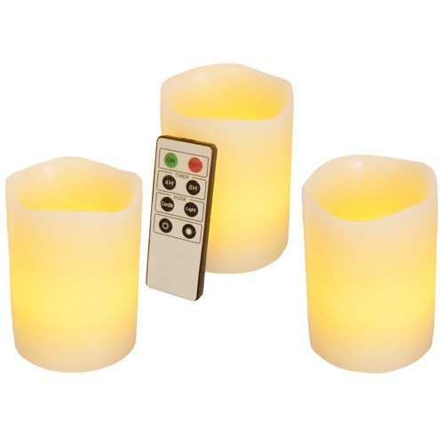 Kit 3 candele in CERA a LED gusto Vaniglia