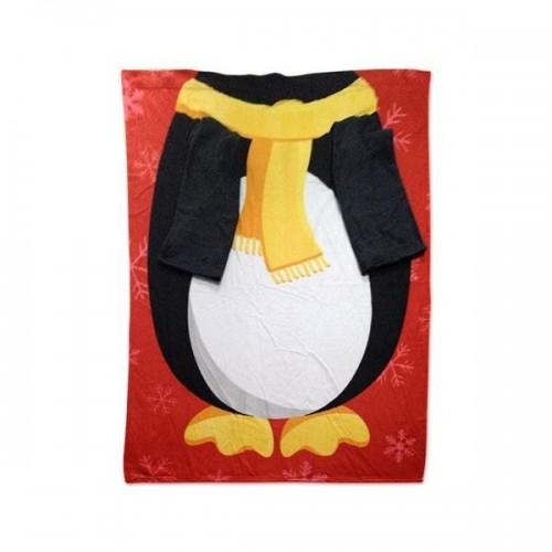 Coperta Natalizia Pinguino con le maniche