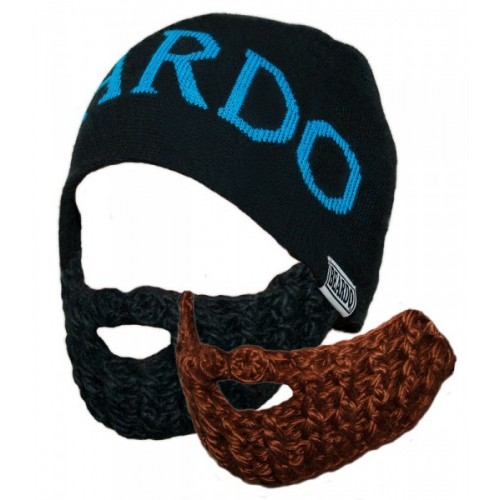 Beardo Barba Cappello nero, barba marrone e scritta in blu