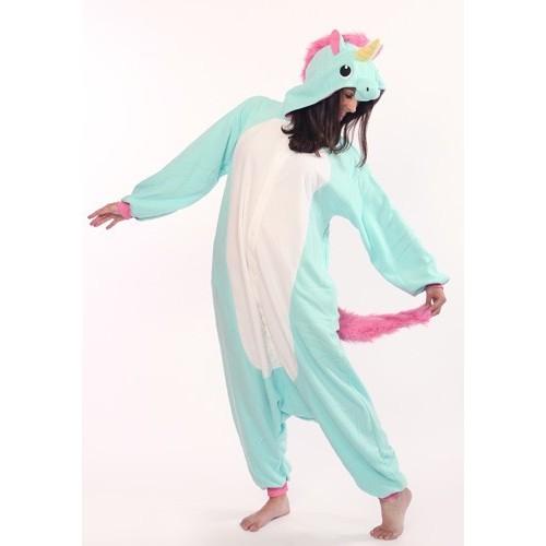 Pigiama intero giapponese Kigurumi Unicorno Azzurro