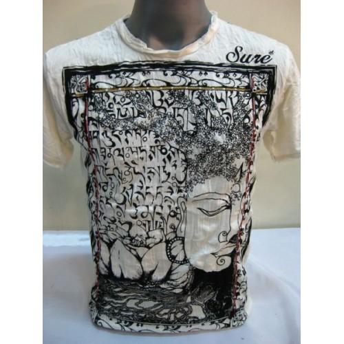 T-shirt Sure Design Buddha Sanscrito Cotone nero su bianco