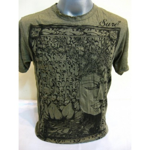 T-shirt Sure Design Sanskrit Buddha Cotone nero su verde