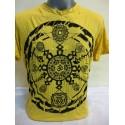 T-shirt Sure Design Chakra Ohm Mandala Cotone nero su giallo